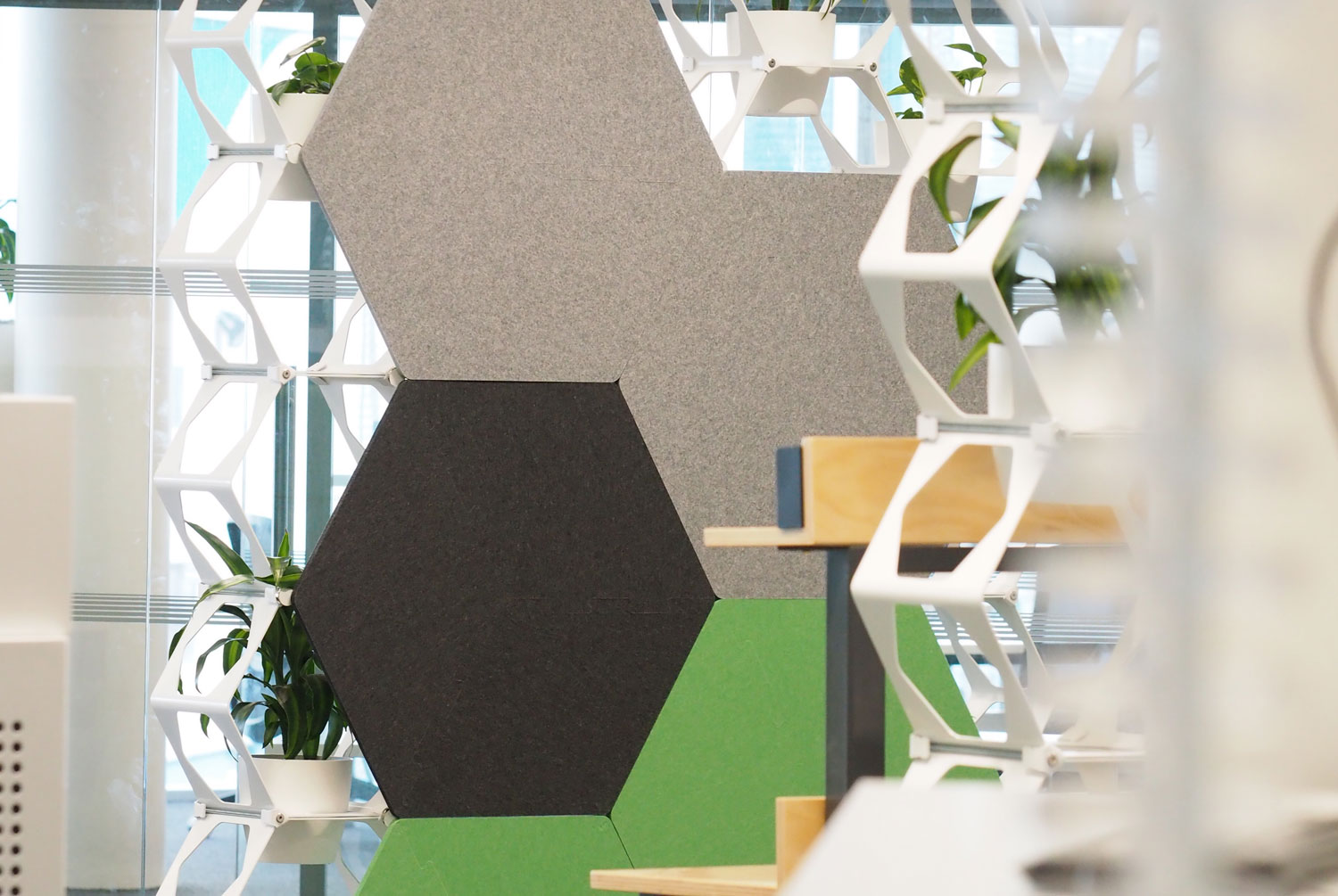 Honeycomb Green wall SOFTCELL Autex Cube acoustic panels